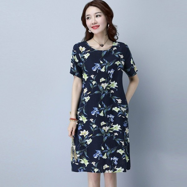 New Fashion O Neck Knee Length Loose Fit Summer Autumn Party Dress Cotton Linen Vintage Print Women Dress Extra Image 3