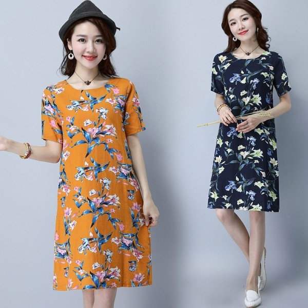 New Fashion O Neck Knee Length Loose Fit Summer Autumn Party Dress Cotton Linen Vintage Print Women Dress