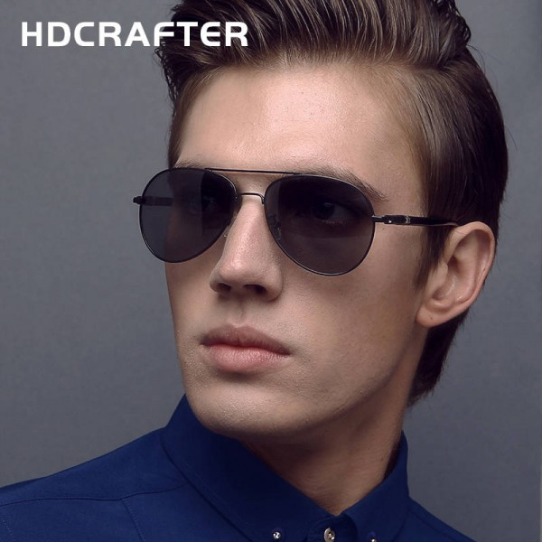 New Fashion Polarized Mens Sunglasses High Quality Polarized UV400 Alloy Frame HDCrafter Oval Glasses Extra Image 1