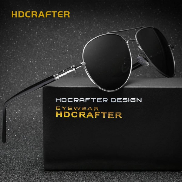 New Fashion Polarized Mens Sunglasses High Quality Polarized UV400 Alloy Frame HDCrafter Oval Glasses Extra Image 2