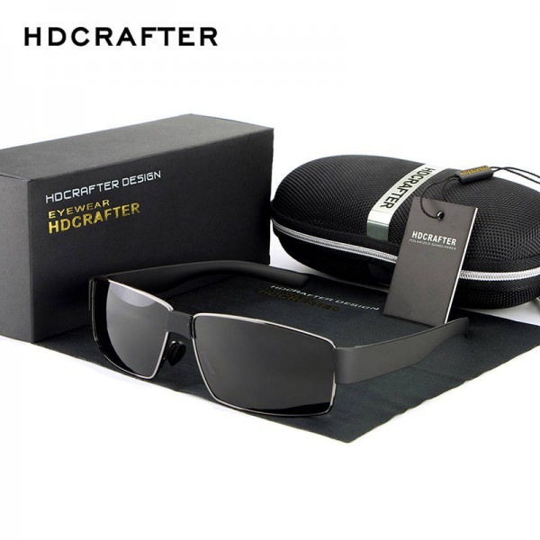 New Fashion Polarized Metal Frame Sunglasses For Men High Quality Rectangle HDCRAFTER Customized Goggles Extra Image 0