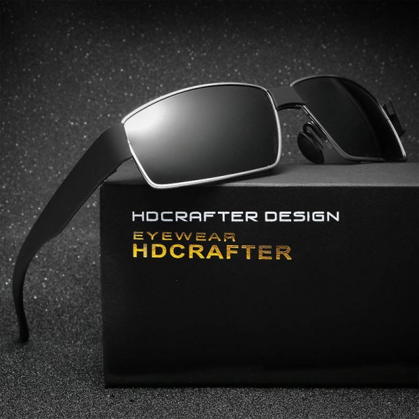 New Fashion Polarized Metal Frame Sunglasses For Men High Quality Rectangle HDCRAFTER Customized Goggles Extra Image 1