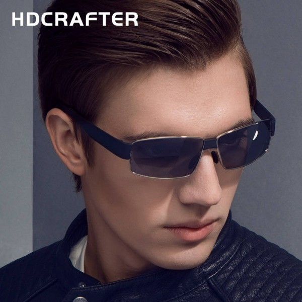 New Fashion Polarized Metal Frame Sunglasses For Men High Quality Rectangle HDCRAFTER Customized Goggles Extra Image 5