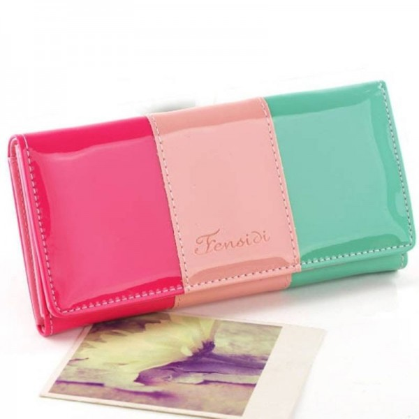 New Fashion Pu Leather Wallets For Women Stitching Long Purse Mobile Bags Coin Purse Cardholders Thumbnail