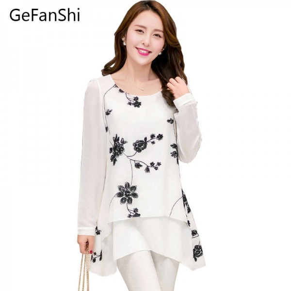 New Fashion Spring Summer Embroidery Blusa Long Sleeve O Neck Dress Casual Chiffon Thumbnail