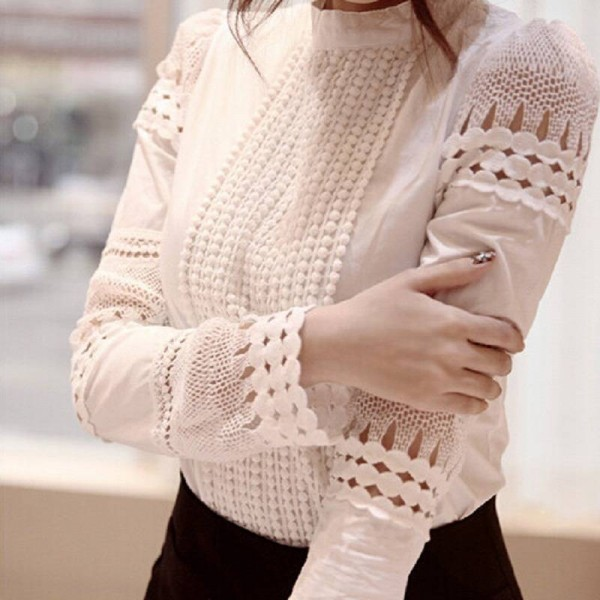 New Fashion Spring Summer Women White Lace Cut Out Long Sleeve Blouse Tops For Women