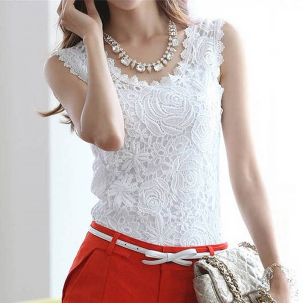 New Fashion Summer Sleeveless Tops Floral Lace Crochet Vest Casual Tees For Women Thumbnail