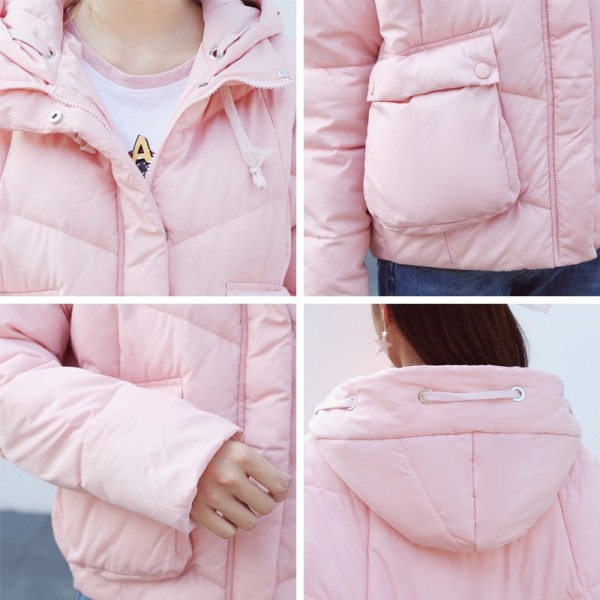New Fashion Winter Jacket Women Cotton Padded Hooded Female Coat Parka Oversize Outerwear Winter Outfit Extra Image 5