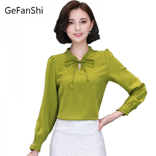 New Fashion Women Blouses Korean Style Solid Color Chiffon Office Shirt Formal Thumbnail