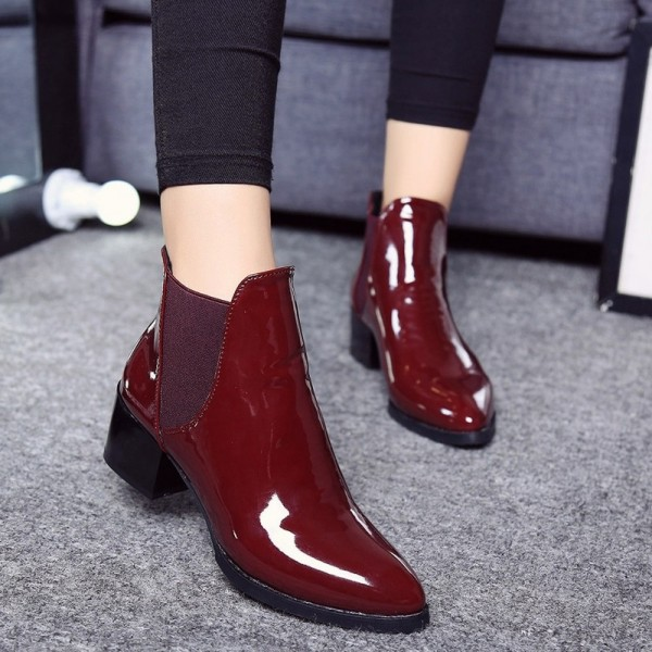 New fashion Women boots Sexy Boots Women Ankle Boots Elasticated Patent leather pointed toe Low heel ankle boots Extra Image 4