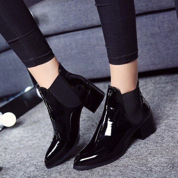 New fashion Women boots Sexy Boots Women Ankle Boots Elasticated Patent leather pointed toe Low heel ankle boots Extra Image 5