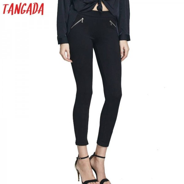 New Fashion Women Elegant Black Elastic Waist Leggings Zippers Slim Casual Stretch Pencil Pants Thumbnail