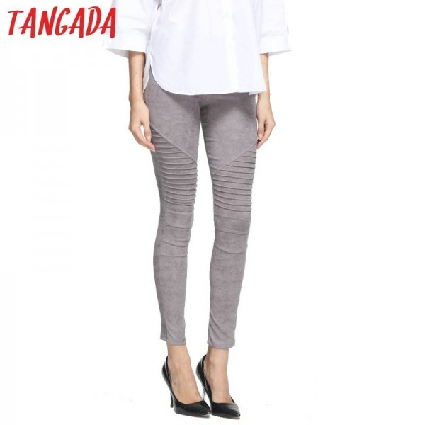 New Fashion Women Faux Suede Leggings Pleated Elastic Waist Trousers Pants For Women Thumbnail