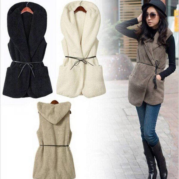 New Fashion Women Ladies Hooded Faux Lamb Fur Sleeveless Jacket Coat With Hat Women Thumbnail