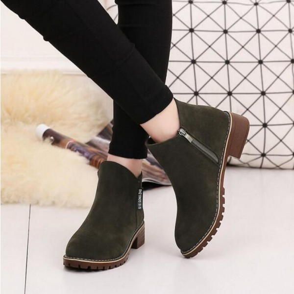 New Fashion Women martin Boots Autumn Winter Boots Classic Zipper Ankle Boots Grind arenaceous Warm Plush Women Shoes Extra Image 4