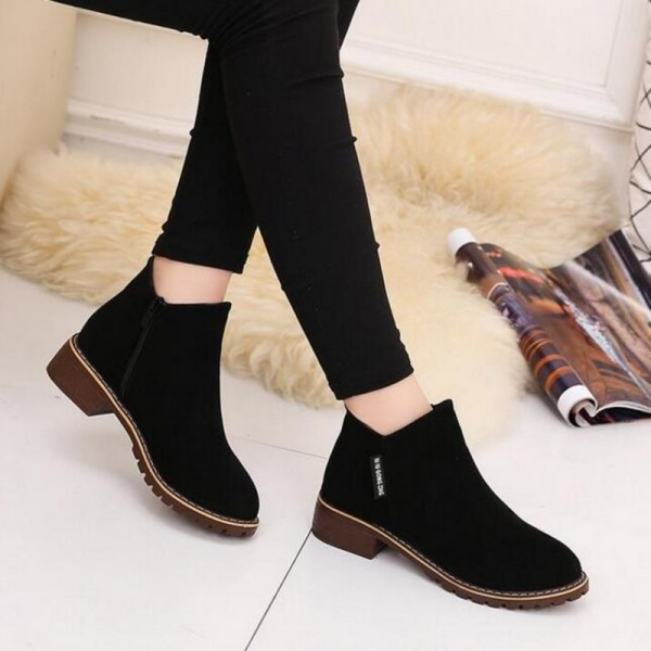 New Fashion Women martin Boots Autumn Winter Boots Classic Zipper Ankle Boots Grind arenaceous Warm Plush Women Shoes Extra Image 5