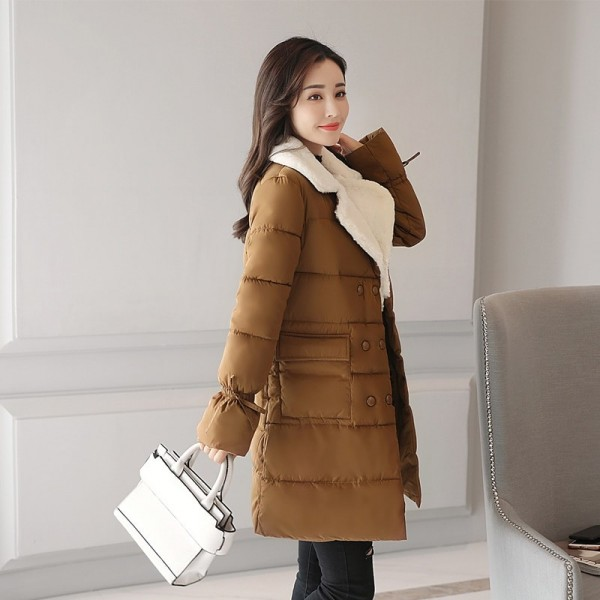 New Fashion Womens Winter Jackets Turn Down Color Breasted Buttons Female Coat Winter Long Autumn Parka Coat Extra Image 2