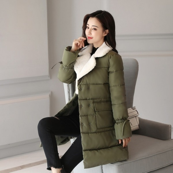 New Fashion Womens Winter Jackets Turn Down Color Breasted Buttons Female Coat Winter Long Autumn Parka Coat Extra Image 3