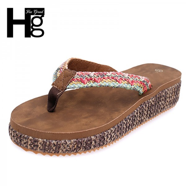 New Flip Flops Fashion Solid Women Shoes Hemp Rubber Platform Slip on Summer Slippers Shoes For Women Extra Image 1