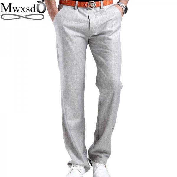 New High Quality Summer Linen Cotton Pants Stretch Trousers Casual Office Wear Men Thumbnail