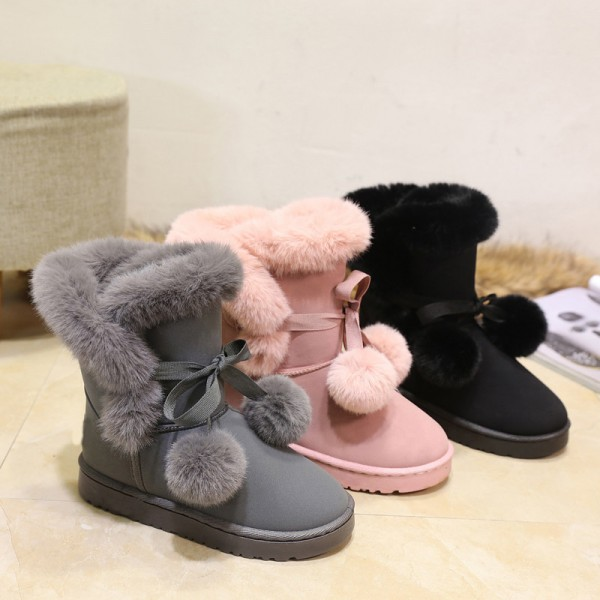 New Hot Sale Women Snow Boots Solid Color Slip On Soft Cute Women Boots Round Toe Flat with Winter Shoes Extra Image 3