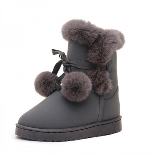 Buy New Hot Sale Women Snow Boots Solid Color Slip On Soft