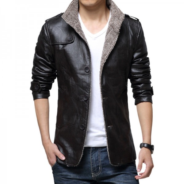 New Jackets Men Casual Bomber Jacket Homme Slim Fit Thick Windbreak Overcoat Solid PU Man Coats Fashion Brand Clothing Extra Image 1