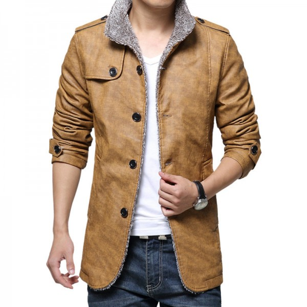 New Jackets Men Casual Bomber Jacket Homme Slim Fit Thick Windbreak Overcoat Solid PU Man Coats Fashion Brand Clothing Extra Image 4