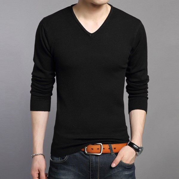 New Knitted Bottoming Shirt Soft Warm Cashmere Sweater Men Winter Clothing Slim Fit V Neck Pullover Men Wool Sweaters Extra Image 4