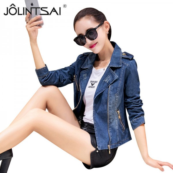 New Korean Casual Denim Jacket Women Long Sleeve Blue Autumn Coats Fashion Vintage Slim Jean Jackets abrigos mujer Extra Image 1