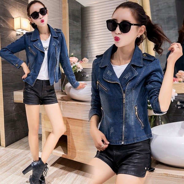 New Korean Casual Denim Jacket Women Long Sleeve Blue Autumn Coats Fashion Vintage Slim Jean Jackets abrigos mujer
