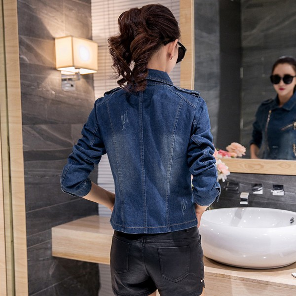 New Korean Casual Denim Jacket Women Long Sleeve Blue Autumn Coats Fashion Vintage Slim Jean Jackets abrigos mujer Extra Image 4