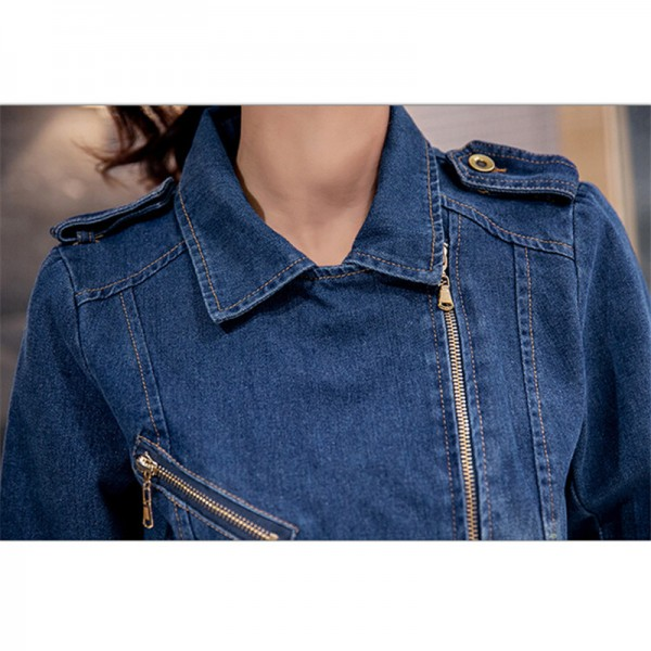 New Korean Casual Denim Jacket Women Long Sleeve Blue Autumn Coats Fashion Vintage Slim Jean Jackets abrigos mujer Extra Image 5