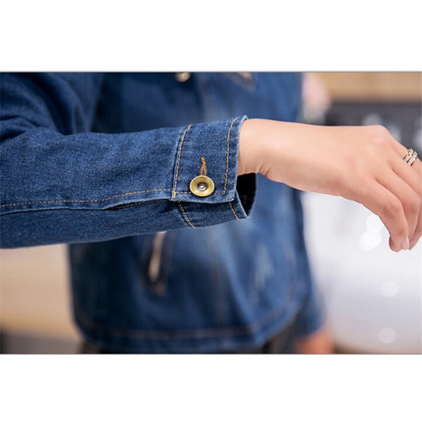 New Korean Casual Denim Jacket Women Long Sleeve Blue Autumn Coats Fashion Vintage Slim Jean Jackets abrigos mujer Extra Image 6