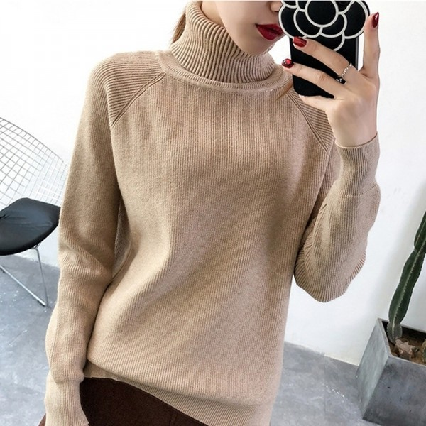 New Korean Style Women Sweaters Chic Knitted Turtleneck Sweaters And Pullovers Female Jumper Winter Tops Extra Image 1