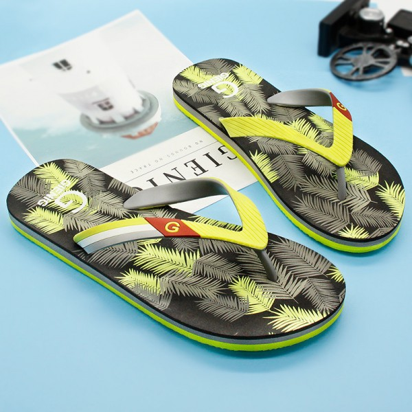 New Leaf Printed Slippers Flip Flops For Men Latest 2018 Slippers Beach Style Household Sandals For Men Extra Image 3