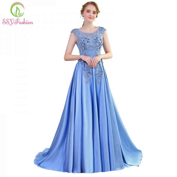 New Luxury Satin Long Evening Dress the Bride Banquet Sleeveless Lace Flower Beading Prom Formal Gown Robe De Soiree Extra Image 1
