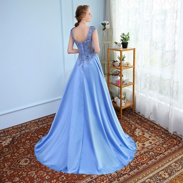 New Luxury Satin Long Evening Dress the Bride Banquet Sleeveless Lace Flower Beading Prom Formal Gown Robe De Soiree Extra Image 2