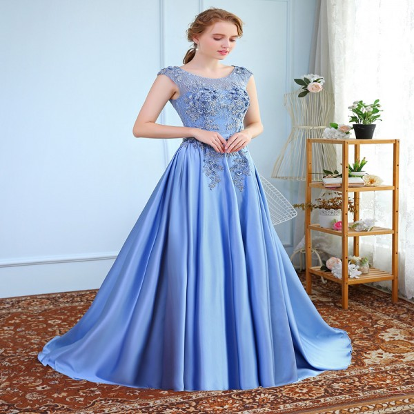 New Luxury Satin Long Evening Dress the Bride Banquet Sleeveless Lace Flower Beading Prom Formal Gown Robe De Soiree Extra Image 4