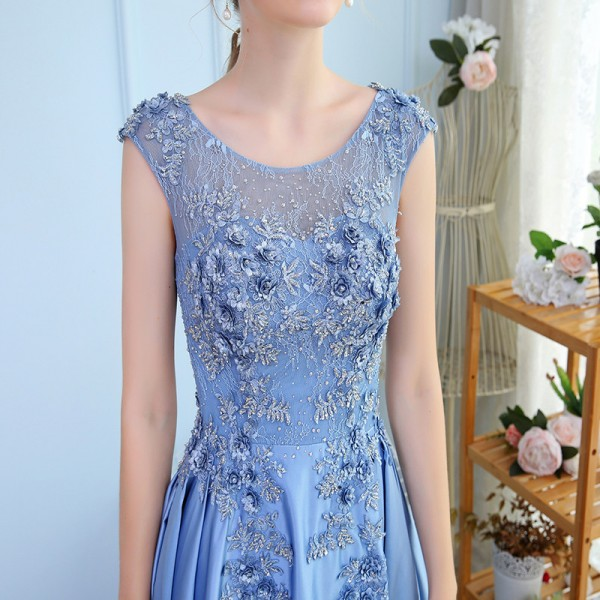 New Luxury Satin Long Evening Dress the Bride Banquet Sleeveless Lace Flower Beading Prom Formal Gown Robe De Soiree Extra Image 6
