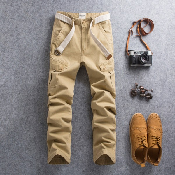 New Men Cargo Pants Casual Wear Twill Cotton Regular Straight Fit Pant Multi Color Red Blue Khaki Male Trousers Extra Image 2