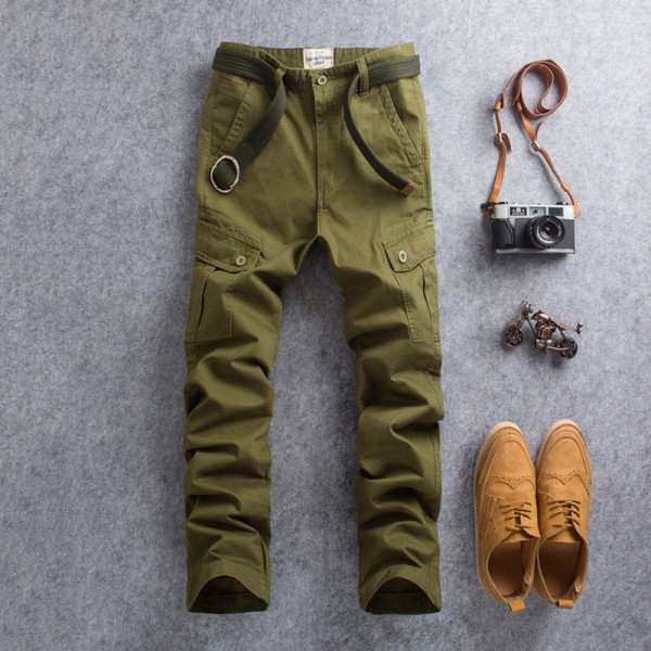 New Men Cargo Pants Casual Wear Twill Cotton Regular Straight Fit Pant Multi Color Red Blue Khaki Male Trousers Extra Image 3