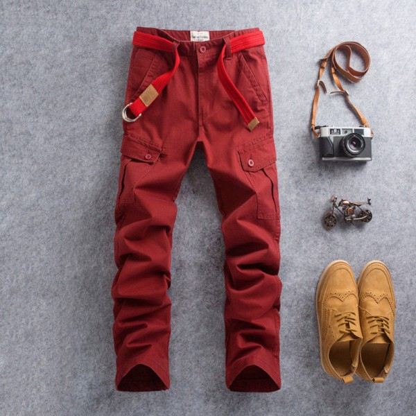 New Men Cargo Pants Casual Wear Twill Cotton Regular Straight Fit Pant Multi Color Red Blue Khaki Male Trousers Extra Image 5