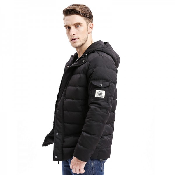 New Men Down Coat Heavy Weight Long Length Sleeve Pocket Solid Color Regular Fit Down Warm Coats Male Outwear Extra Image 3