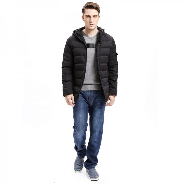 New Men Down Coat Heavy Weight Long Length Sleeve Pocket Solid Color Regular Fit Down Warm Coats Male Outwear Extra Image 5