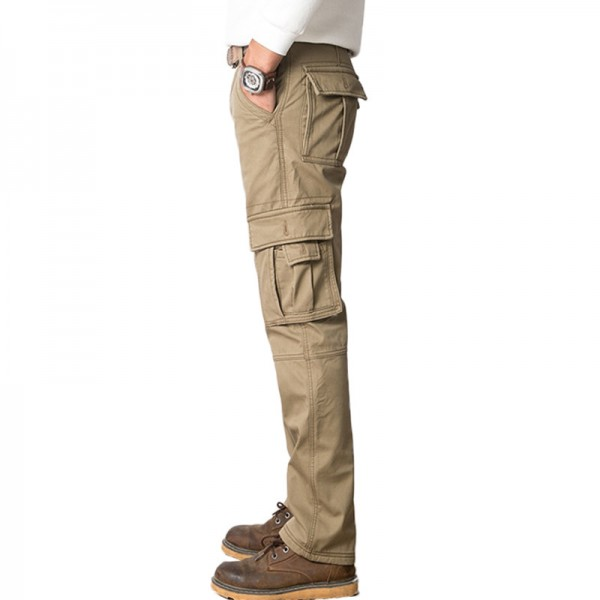 New Men Fleece Cargo Pants Straight Fit Thicken Cotton Flannel Warm Pants Winter Wear Male Black Army green Extra Image 3