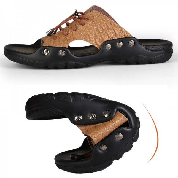 43a3b0ebd43ad ... New Men Genuine Leather Holiday Beach Shoes Flip Flops Mens Casual Flat  Shoes Sandals Summer Slippers ...