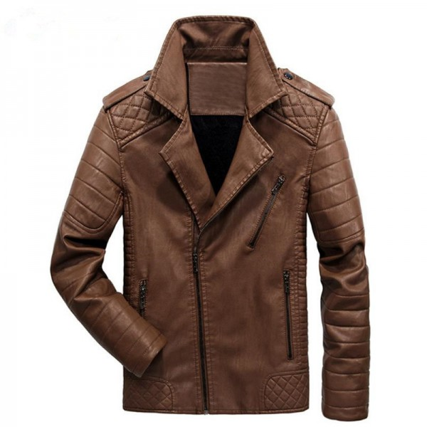 New men leather jackets and Europe and the Americas leisure motorcycle leather jacket men coat clothes large size Extra Image 3