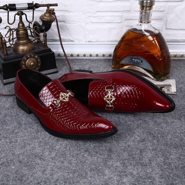 New Men Slip On Snake Printed Formal New Design Shoes Unique For Men Thumbnail