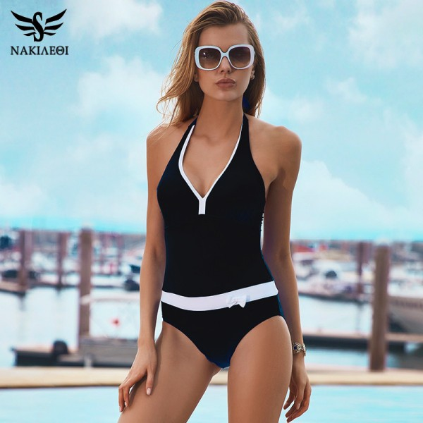 758b78fd01617 Buy New One Piece Swimsuit Women Vintage Bathing Suits Halter Plus Size Sexy  Monokini Summer Beach Wear Swim